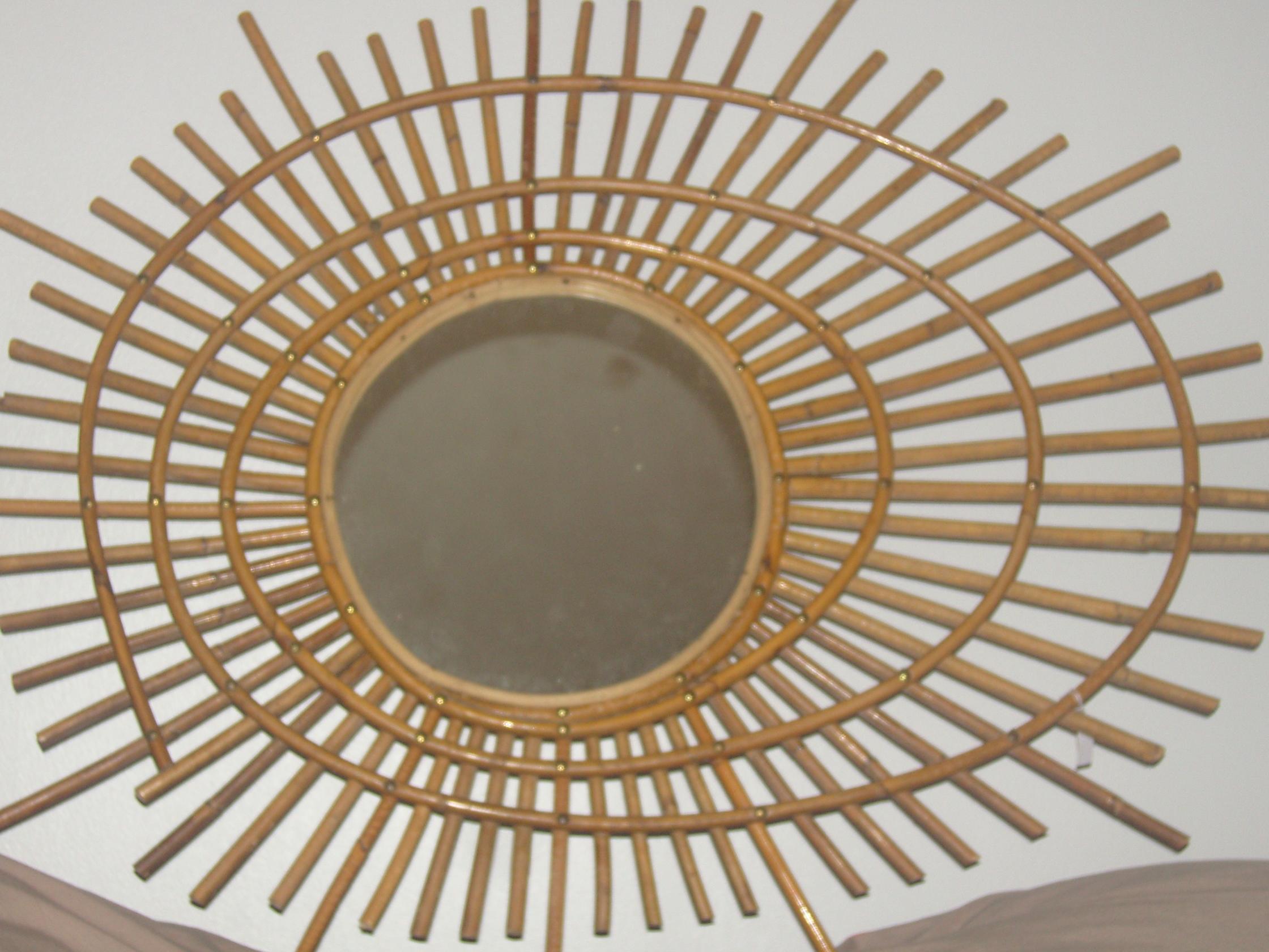 Miroir en osier rotin des ann es 50 60 for Miroir osier